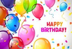Colora balões lustrosos do feliz aniversario Vetor imagens de stock