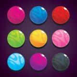 Colora bolhas, bolas ajustadas no fundo escuro para o projeto de jogo ilustração stock