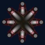 Colora a composição abstrata com bolas e as estrelas cinzentas em ciano ilustração stock