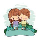 Colora crianças felizes do kawaii dos pares da imagem tomadas as mãos na floresta Imagem de Stock