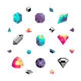 Colora cristais, formas do diamante, grupo do vetor das pedras do polígono Imagens de Stock
