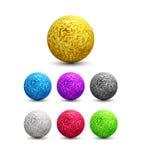 Colora esferas metálicas brilhantes ajustadas Ilustração do vetor Imagens de Stock Royalty Free