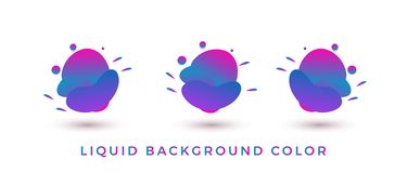 COLORA a forma líquida, bandeira abstrata moderna ajustada plano geométrico com várias cores - vetor ilustração stock