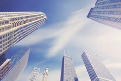 Colora a foto tonificada de arranha-céus de Chicago com clo borrados movimento Imagem de Stock