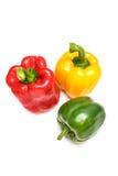Colora i peperoni dolci su bianco Fotografie Stock