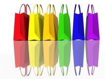 Colora i sacchetti di acquisto illustrazione vettoriale