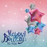 Colora a ilustração lustrosa do vetor do fundo da bandeira dos balões do feliz aniversario Fotos de Stock