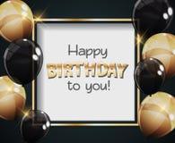 Colora a ilustração lustrosa do vetor do fundo da bandeira dos balões do feliz aniversario Imagem de Stock