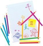 Colora lápis e povos desenhados mão Fotos de Stock Royalty Free