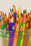 Colora lápis em um frasco - estilo do desenho Imagem de Stock Royalty Free