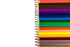 Colora lápis isolados no fim branco do fundo acima Imagens de Stock Royalty Free