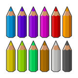 Colora lápis Vetor Fotografia de Stock