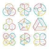 Colora a linha grossa círculo, vetor triangular, sextavado, pentagonal dos gráficos dos diagramas de cartas do esboço do negócio  Fotografia de Stock Royalty Free