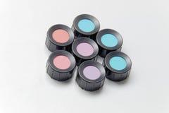Colora máscaras, azul, roxo, azul, violeta, vermelho, ciano imagem de stock