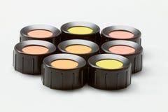 Colora máscaras, vermelho, laranja, amarelo, verde, azeitona Imagem de Stock