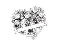 Colora-me coração com flores e fita Imagens de Stock Royalty Free
