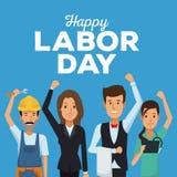 Colora o cartão do Dia do Trabalhador feliz com os povos de profissões diferentes ilustração stock