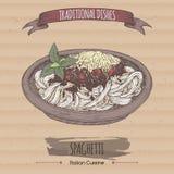 Colora o esboço bolonhês dos espaguetes colocado no fundo do cartão ilustração stock