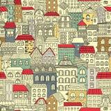 Colora o esboço do panorama da cidade Casas bonitos do vintage Imagem de Stock