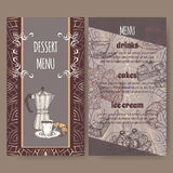 Colora o esboço tirado baseado moldes do cartão do menu da sobremesa disponível ilustração do vetor