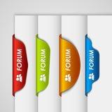 Colora o fórum do marcador da etiqueta na borda do página da web Foto de Stock Royalty Free