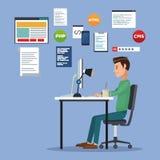 Colora o fundo da cena com o homem do programador web na linguagem de programação da mesa Fotografia de Stock Royalty Free