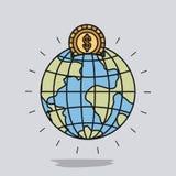 Colora o fundo da imagem com a caixa de dinheiro na forma do mundo da terra do globo com moeda dourada ilustração royalty free