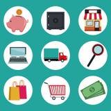 Colora o fundo de elementos circulares dos ícones do quadro da compra em linha Imagens de Stock Royalty Free