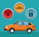 Colora o fundo do veículo clássico do carro com ícones do botão Fotografia de Stock Royalty Free