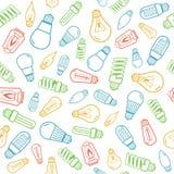 Colora o fundo sem emenda das silhuetas do bulbo de lâmpada Ilustração do vetor Fotos de Stock Royalty Free