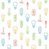 Colora o fundo sem emenda das silhuetas do bulbo de lâmpada Ilustração do vetor Imagens de Stock Royalty Free
