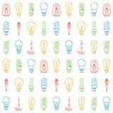 Colora o fundo sem emenda das silhuetas do bulbo de lâmpada Ilustração do vetor Imagem de Stock