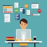 Colora o homem do programador web da opinião dianteira do fundo da cena na linguagem de programação da mesa Fotos de Stock