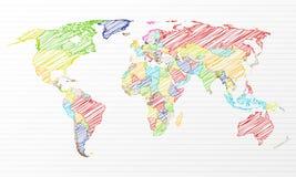 Colora o mapa de mundo político do desenho Fotografia de Stock Royalty Free