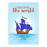 Colora o navio com as velas azuis no mar Veleiro em ondas para a viagem, turismo, agência de viagens, hotéis, cartão de férias, b Foto de Stock Royalty Free