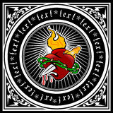 Colora o quadrilátero ornamentado preto e branco do coração do incêndio. Imagens de Stock Royalty Free