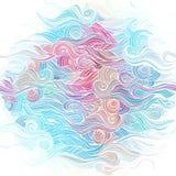 Colora o teste padrão desenhado à mão abstrato com ondas e nuvens Imagens de Stock Royalty Free