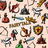 Colora o teste padrão tirado mão do conto de fadas com - a espada Fotografia de Stock Royalty Free