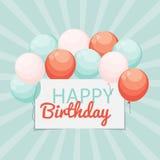 Colora o vetor lustroso IL do fundo da bandeira dos balões do feliz aniversario Foto de Stock Royalty Free