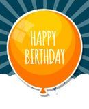 Colora o vetor lustroso IL do fundo da bandeira dos balões do feliz aniversario Fotos de Stock