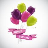 Colora o vetor lustroso IL do fundo da bandeira dos balões do feliz aniversario Foto de Stock