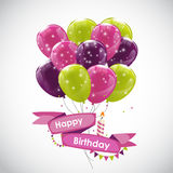 Colora o vetor lustroso IL do fundo da bandeira dos balões do feliz aniversario Imagens de Stock