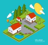 Colora a paisagem lisa da vila da ilustração do vetor Adultos novos ilustração royalty free