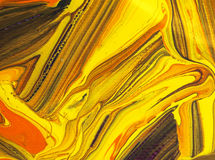 Colora a pintura amarela nas artes de papel da textura do sumário do fundo Imagem de Stock