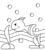 Colorable fish. Image representing a nice fish in a cartoon version. this project is thought to be colored by children between 3 and 5 years old Stock Photo