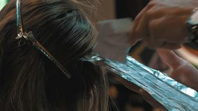 Coloración del cabello Estilista que aplica el tinte del colorante La mujer joven está coloreando su pelo en una barbería metrajes