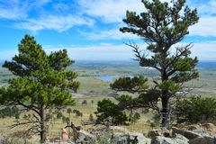 Colorado-Ansicht des flachen Landes von einem Berg lizenzfreie stockfotos