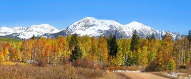 Colorado autumn panorama stock image