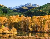 Colorado Autumn Scenic Beauty. Autumn colors create a unique scenic beauty in the Rocky Mountains of Colorado Stock Photo