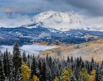 Colorado Autumn Scenic Beauty. Autumn colors create a unique scenic beauty in the Rocky Mountains of Colorado Stock Photos